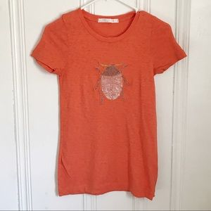 J.Crew Orange Embellished Beetle T-shirt S